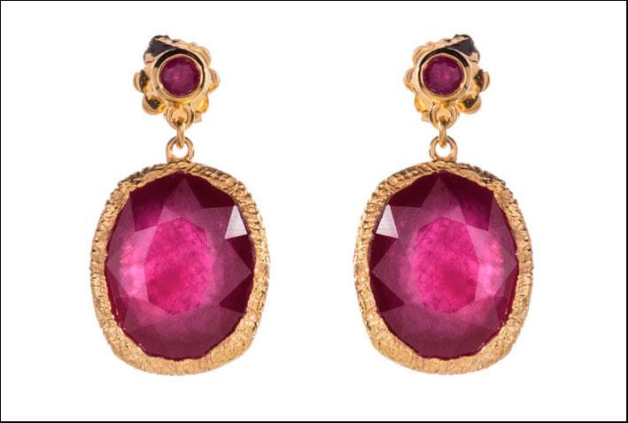 Orecchini Maiden, con rubini, vermeil, oro
