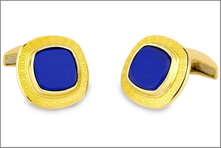 Gemelli in oro 18 carati con smalto e lapislazzuli
