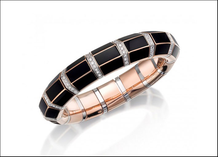 Xpandable, bracciale in oro rosa, diamanti e smalto nero