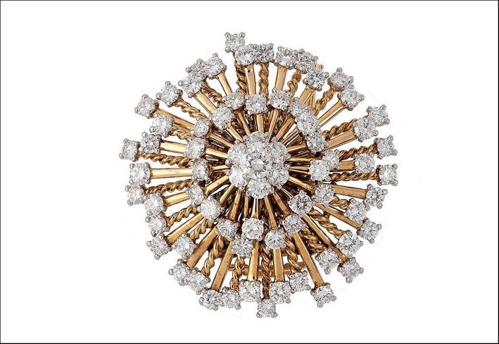 Spilla di Cartier in diamanti e oro rosa. Partita da una base d'asta di 10.000 euro