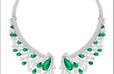 Sutra Columbian emerald collection, collana in oro bianco con smeraldi a goccia per 19 carati e diamanti taglio a goccia e ovale per 51 carati . Prezzo: 1 milione di dollari