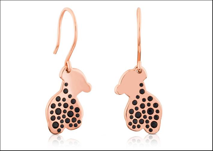 Twist, orecchini in argento placcato oro rosa 18 carati e spinelli neri. Prezzo: 115 euro
