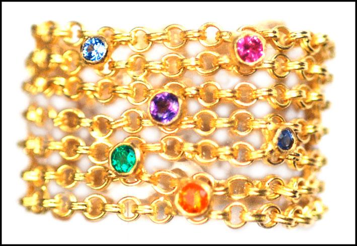 Anello Rainbow, oro e pietre colorate