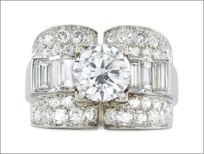 Anello art déco con diamanti