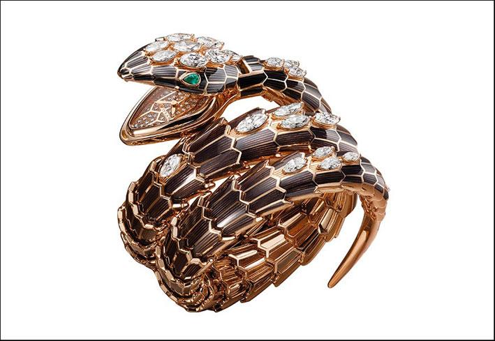 Serpente bracciale con il segnatempo nascosto nella bocca