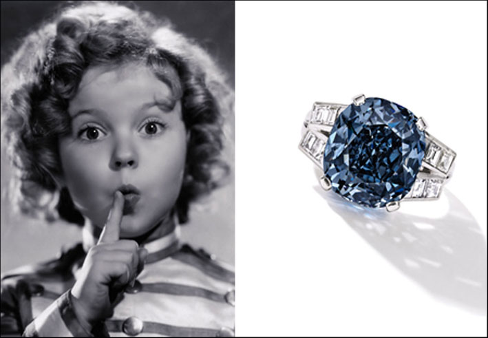 Shirley Temple e l'anello con diamante blu