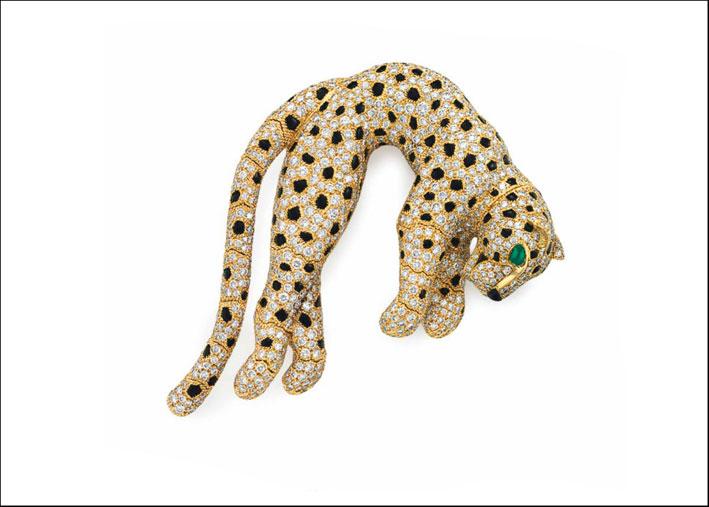 Spilla Panthere di Cartier. Stima: 280-320.000 dollari