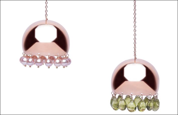 Pendenti in argenti placcato oro, perle e crisoprasio
