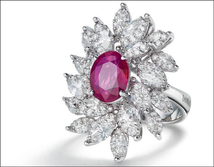 Damiani, anello in oro bianco, rubino e diamanti