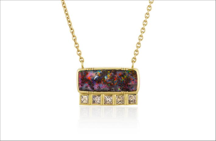 Collana Boulder. Opale, oro e diamanti