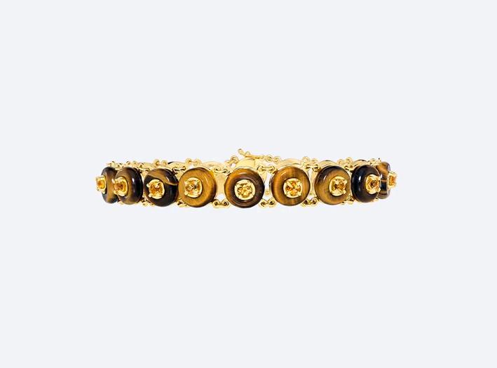 Bracciale in oro giallo con occhio di tigre e citrino