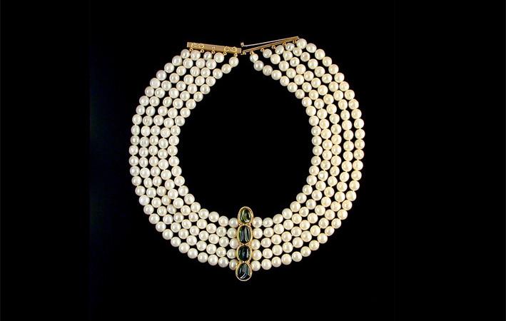 Cleopatra Necklace, perle e tormaline verdi