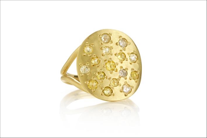 Anello Orbital. Con oro e diamanti bianchi