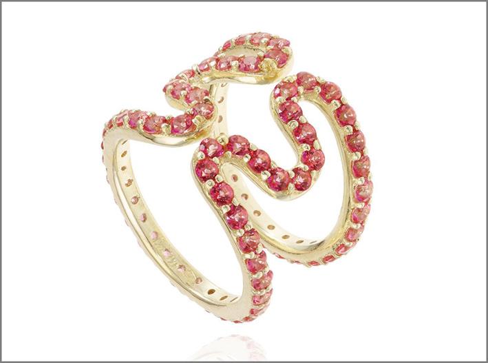 Memphis Wiggly Ring, oro rosa e topazio rosa