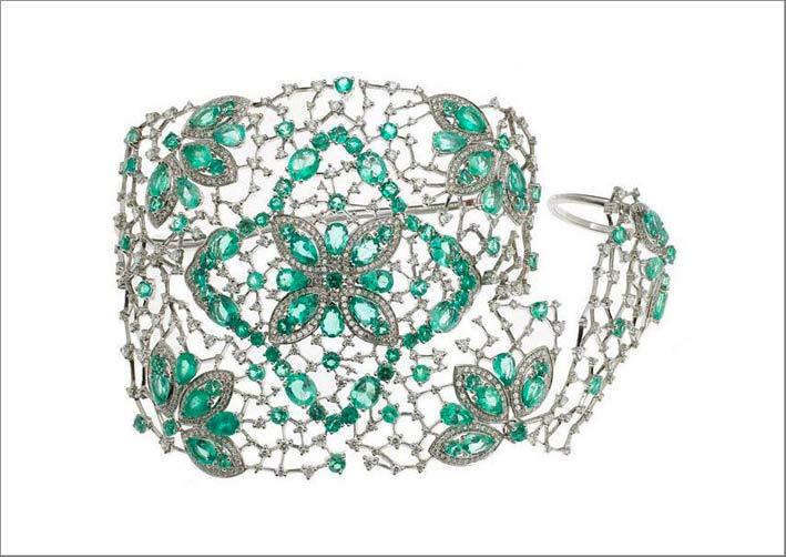 Coprimano in oro bianco, smeraldi, diamanti