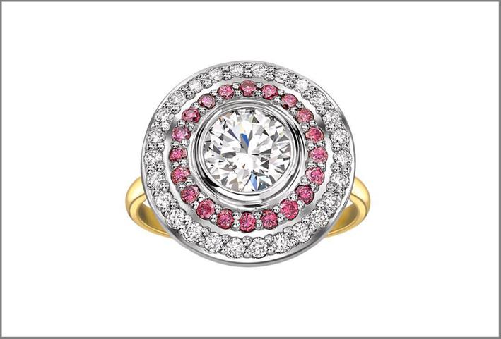 Anello con diamanti bianchi e rosa