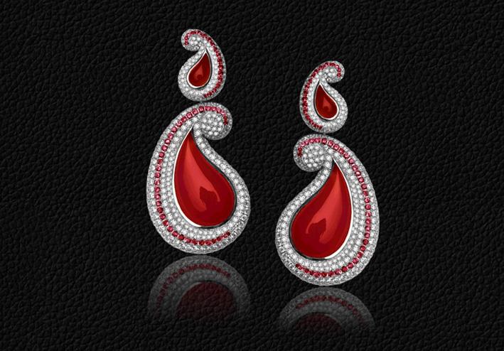 Orecchini Kashmir, trasformabili in ciondo. Oro, agata rossa e diamanti