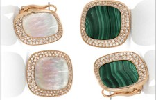 Rose gold earrings with white diamonds and mother of pearl and malachite