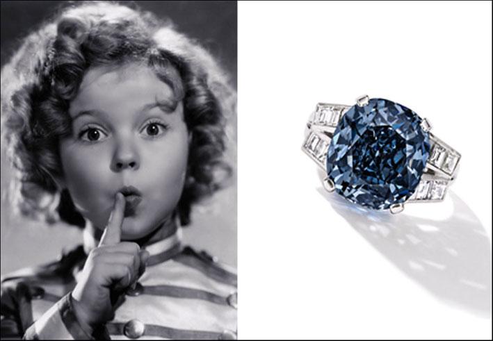 Shirley Temple bambina e l'anello con il diamante blu