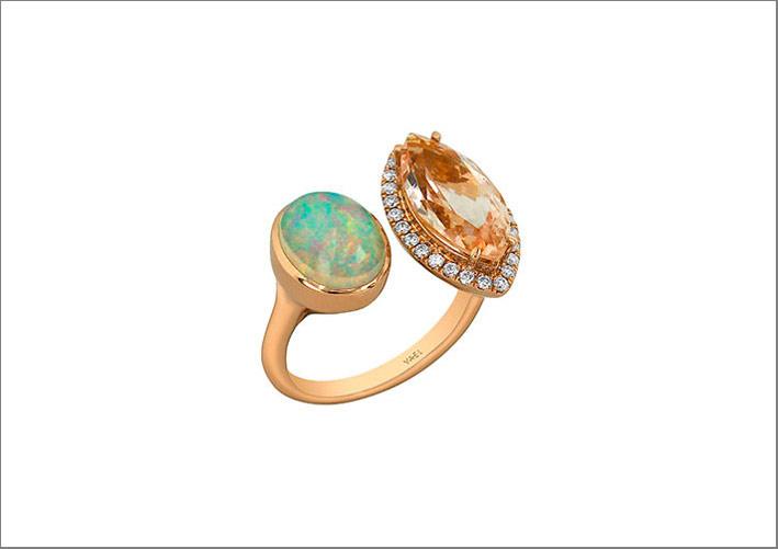 Anello moi et toi in oro rosa 18 carati con opale, morganite, diamanti