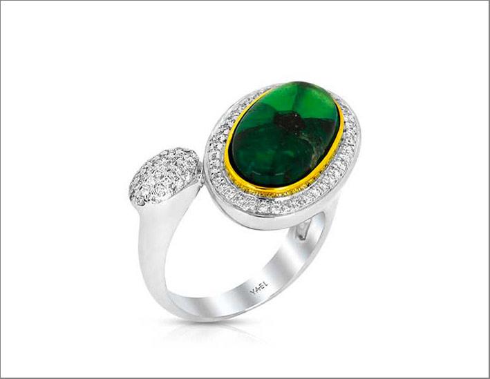 Anello moi et toi in oro bianco e giallo 18 carati con smeraldo, diamanti