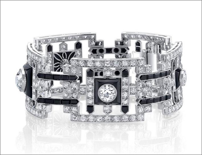 Bracciale stile art déco in platino, diamanti e onice