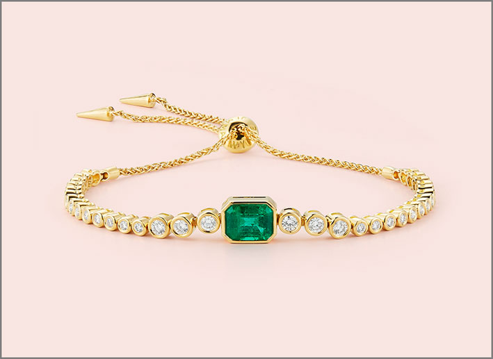 Braccialetto con smeraldi e diamanti. Prezzo su richiesta