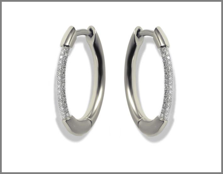 Orecchini Cerré Hoops in oro bianco e diamanti