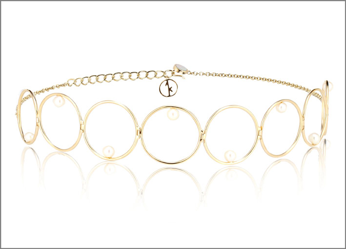 Choker in oro giallo 14 carati con perle