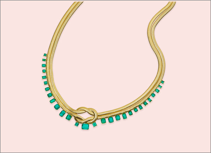 Collana Knot con smeraldi e diamanti. Prezzo su richiesta