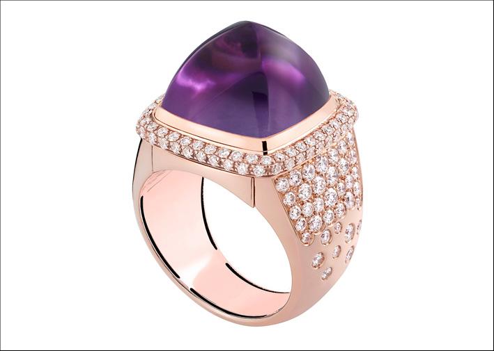 Anello in oro rosa e diamanti con ametista. Prezzo: 14290 euro