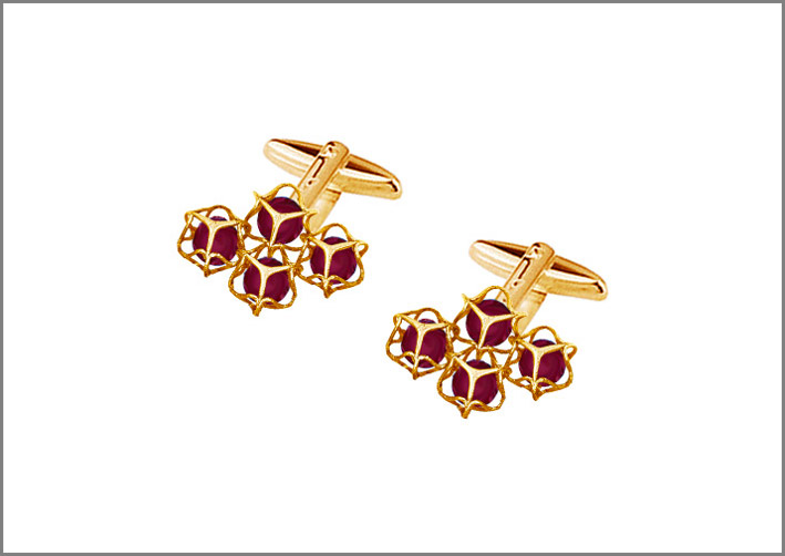 Gemelli da polso della collezione Embrace, oro 18 carati e rubini