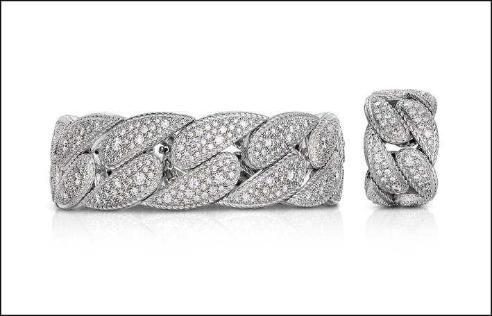 Bracciale e anello in oro bianco e diamanti