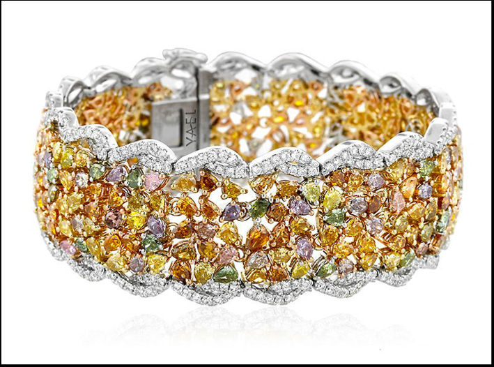 Bracciale Mosaic, in oro a due colori, diamanti bianchi e colorati