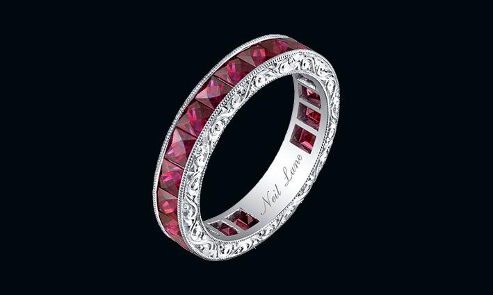 Anello fede con rubini e diamanti