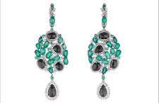 Orecchini con smeraldi e diamanti bianchi e neri