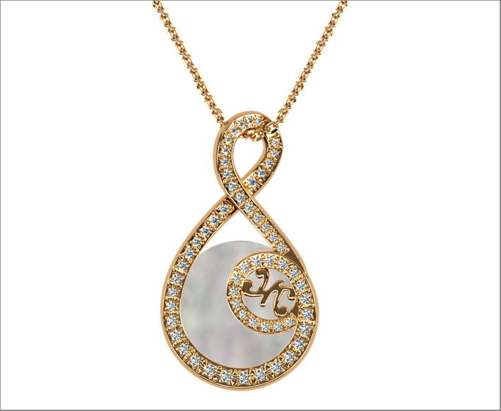 Pendent, rose gold, diamonds, mother pearl