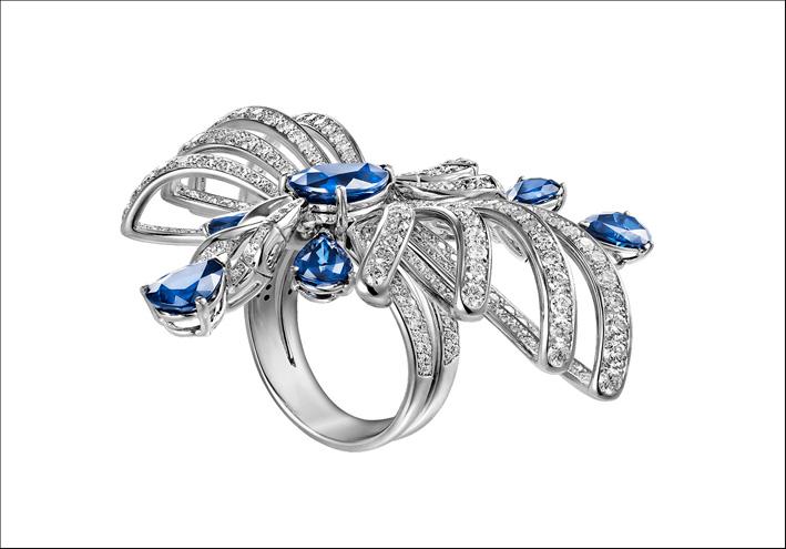 Anello Princess. Oro bianco, diamanti, zaffiri