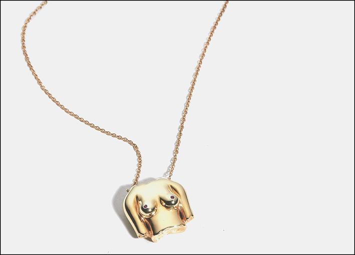 Collana in argento placcato oro, rubini