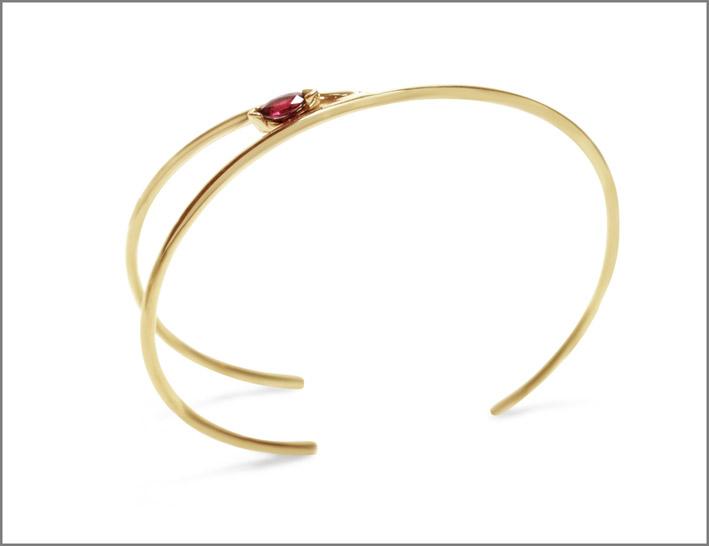 Bracciale Wishbone in oro giallo e rubino