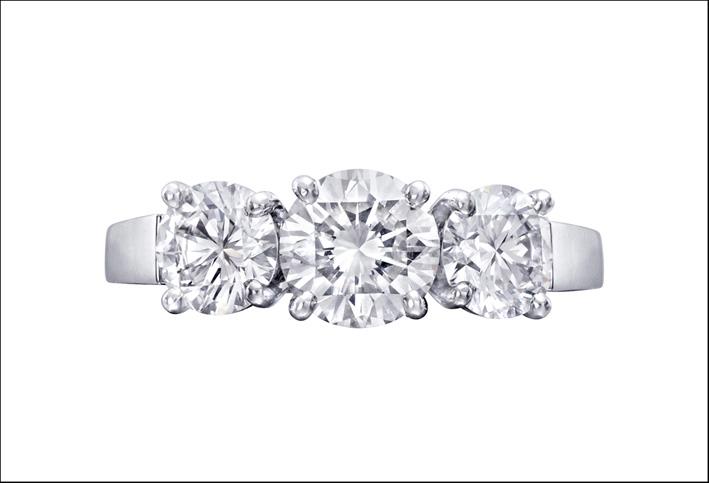 Il classico anello in oro bianco e tre diamanti di Tiffany & co.