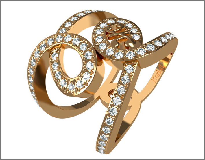 Luna collection ring, rose gold and diamonds