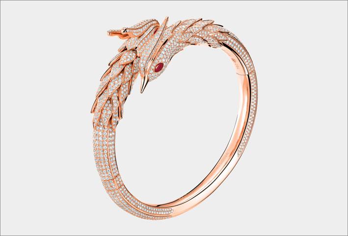 Bracciale drago in oro rosa e diamanti