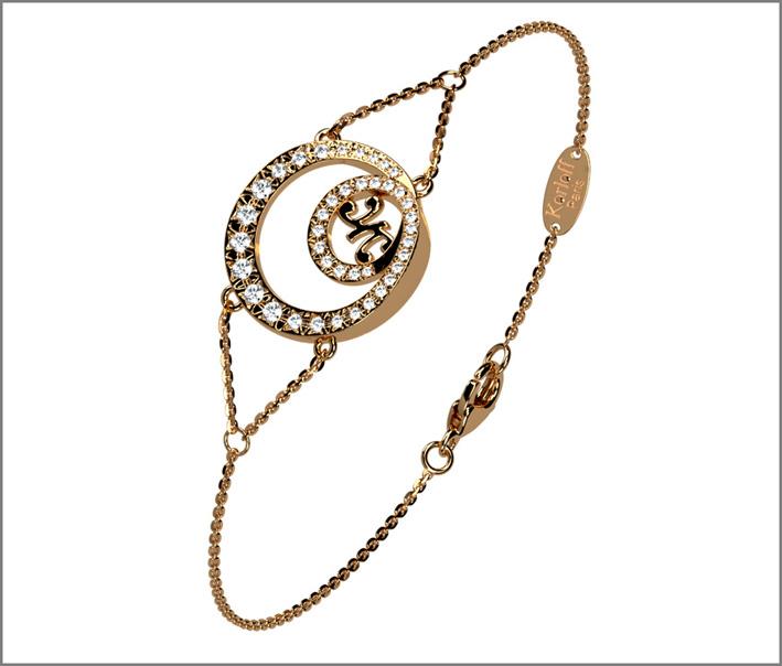 Luna bracelet, rose gold and diamonds