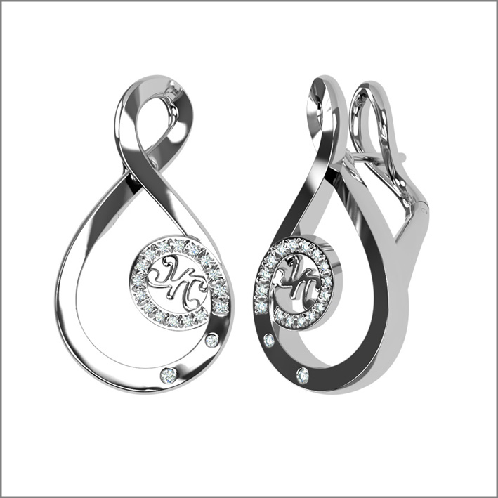Luna collection, earrings white gold, diamonds