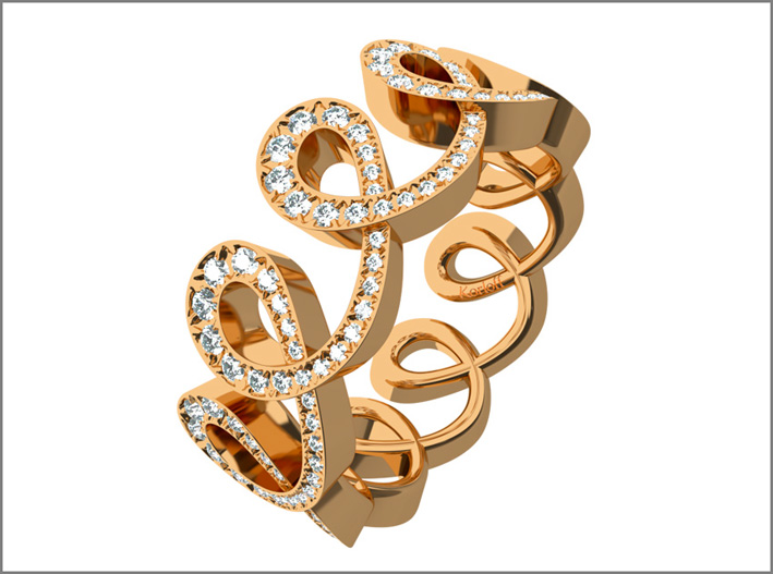 Luna ring, rosegold and white diamonds