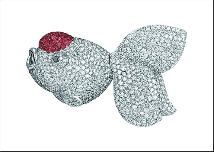 Pesce rosso in diamanti e rubini