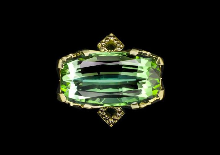 Anello con tormalina menta green