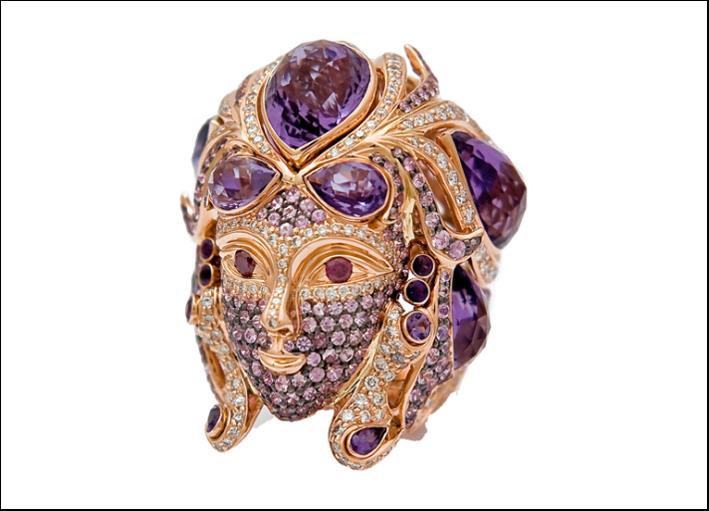 Anello Maschera veneziana. Quarzo, ametista, zaffiro rosa, diamanti rosa