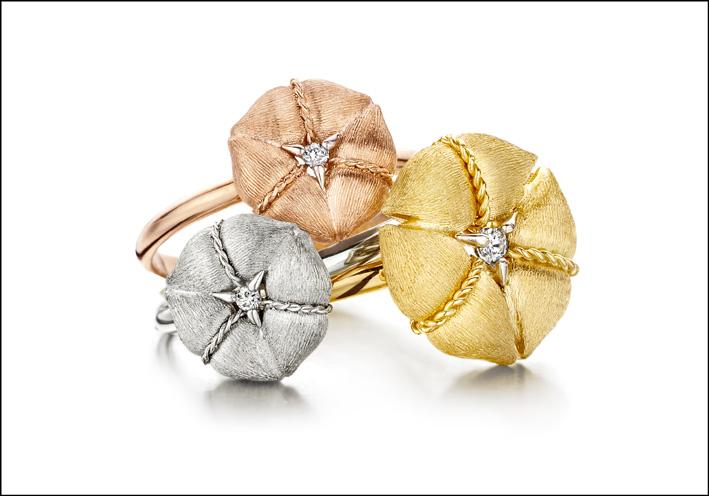 Tre versioni di oro: giallo, rosa e bianco
